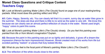 Art History: Life and Works of Claude Monet ~ 3-Part Lesson Plan