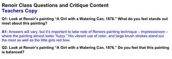 Art History: Life and Works of Pierre Auguste Renoir ~ 3-Part Lesson Plan