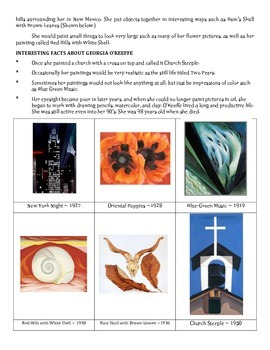 Art History: Life and Works of Georgia O'Keeffe ~ 4-Part Lesson Plan