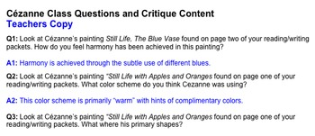 Art History: Life and Works of Paul Cézanne ~ 3-Part Lesson Plan