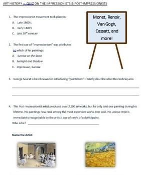 Art History - Quiz on Impressionist and Post Impressionists