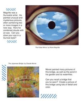 Art History Sketchbook Prompt Cards:  Set #2