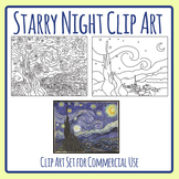 Art History - Starry Night by Van Gogh Clip Art Commercial Use