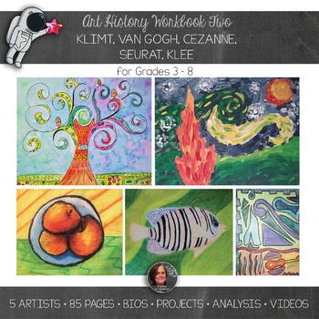 Art History Workbook Bundle 2 - Klimt, van Gogh, Cezanne, Seurat, Klee