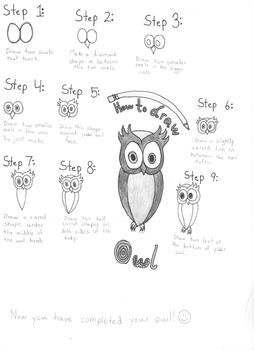 Art: How to draw an owl.  By a kid, for kids.