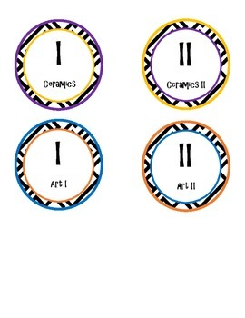 Art I-II and Ceramics I-II Printable Circle Labels, Complementary Colors