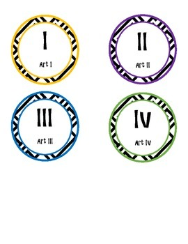 Art I-IV Printable Circle Lablels, Cool Colors