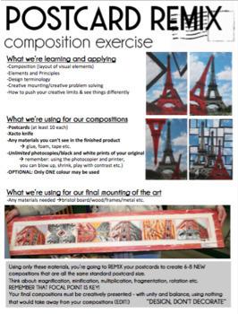 "Art - INTRO - Composition assignment ""Postcard REMIX"" - Elements and Principles"