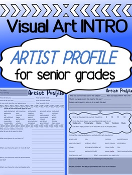 Art - First Week - Visual Art Student Profile Sheet for high school