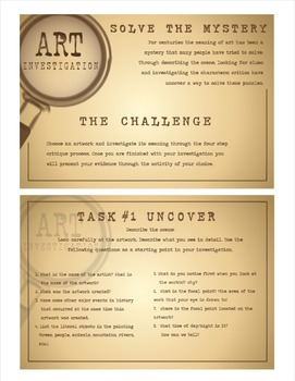 Art Investigation Critique Cards with Multiple Intelligence Activities