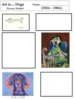 Art Science ... Dogs in Art (6 Printable Open-Ended Worksheets)