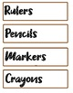 Free! Labels for Classroom in Jurassic Sands Art Borders (2 sizes, 5 pgs)