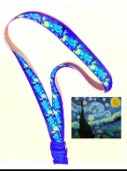 """Art Lanyard - Vincent Van Gogh, Starry Night, Exclusive 7/8"""" Designer Grosgrain"""