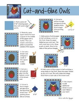 Elementary Art Lesson: Cut-and-Glue Owls