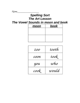 Art Lesson Cut and Paste Spelling Sort Houghton Mifflin Reading