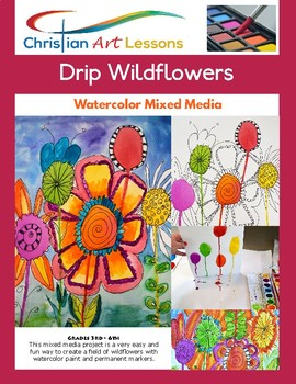 Art Lesson - Drip Watercolor Mixed Media Wildflower