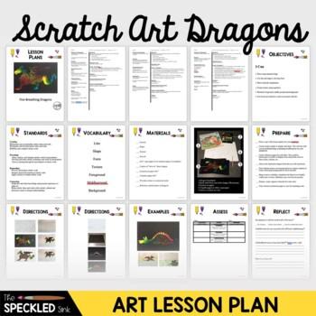 Elementary Art Lesson Plan. Scratch Art Fire Breathing Dragons.
