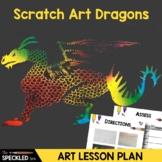 Art Lesson Plan. Scratch Art Fire Breathing Dragons.