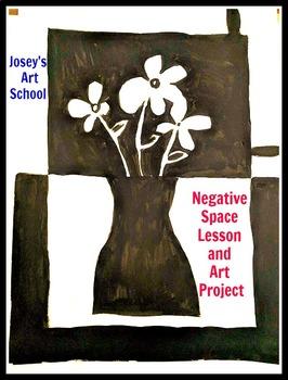 Art Lesson Elements of Art Negative Space Flowers Grades 1 - 6 Common Core