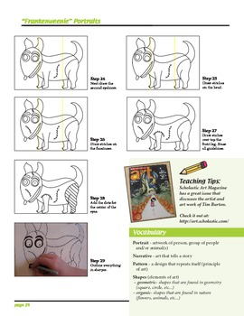 "Art Lesson - ""Frankenweenie"" Portraits Tim Burton Style (step-by-step)"