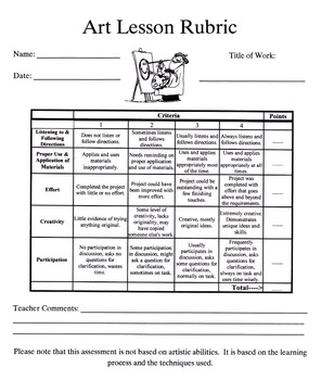 Art Lesson Grading Rubric