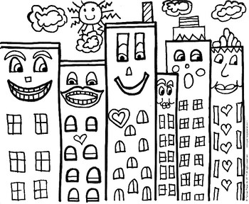 art lesson james rizzi inspired buildings handouts