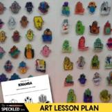 Art Lesson. Khamsa Amulet. Elementary Art Lesson Plan. Shrinky Dink Jewelry
