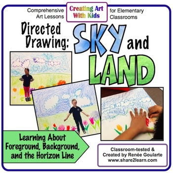 Art Lesson Sky and Land Directed Drawing Landscape