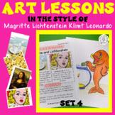 Famous Artist Art Lesson Magritte, Lichtenstein, Klimt, Leonardo