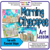 Art Lesson Morning Cityscapes with Recycled Maps