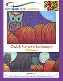 Art Lesson - Owl & Pumpkin Landscape