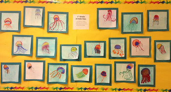 Elementary Art Lesson Plan. Painting with Line. Jellyfish with watercolor