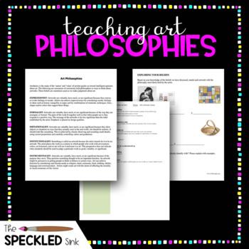 Art Lesson. Philosophies of Art. Lesson Plan and Worksheet.