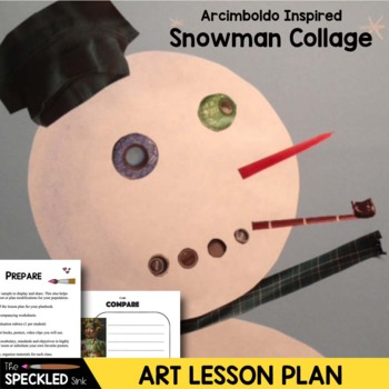 Art Lesson Plan. Elementary Art. Collaged Snowman. Arcimbold-snow