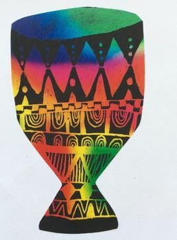 Art Lesson Plan. Elementary - Drum Dream Girl. Pattern & Scratch Art