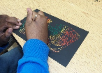 Art Lesson Plan with Video. Elementary - Drum Dream Girl. Pattern & Scratch Art