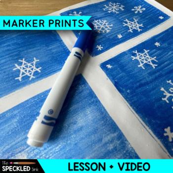 Art Lesson Plan. Elementary Printmaking Snowflakes Winter Theme