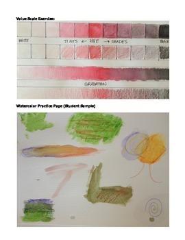High School Art Lesson Plan. Monochromatic Watercolor Pencil Unit