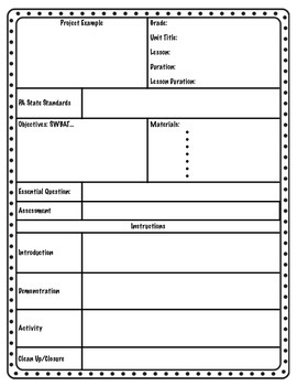 Art Lesson Plan Template By Gina Spino Teachers Pay Teachers - Art lesson plan template