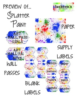 Art Lesson Plan Template with Splatter Paint goodies