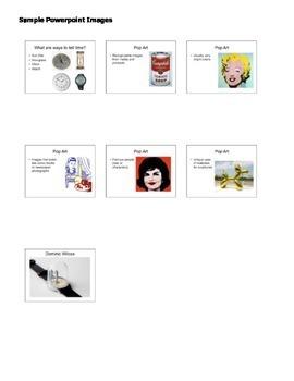 Art Lesson Plan and Presentation. Pop Art Watches. Studio/Art History