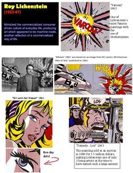 Art Lesson with Printables:Pop Art  Roy Lichtenstein Style