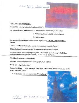 Art Lesson Plans including Famous Artists