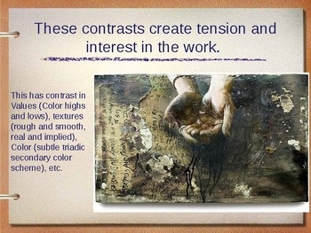Art Lesson Powerpoint based on Value, Contrast, & Emphasis (2 projects)