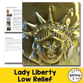 Art Lesson. Repousse. Statue of Liberty. Patriotic Elemeta