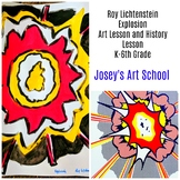 Art Lesson Roy Lichenstein Explosion Grade K to 6th Grade Art History Drawing