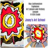 Art Lesson Roy Lichenstein Explosion Grade K to 6th Grade