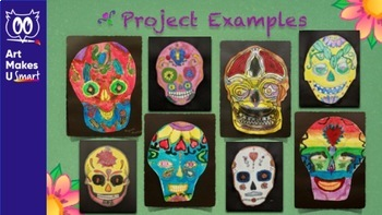 STEAM Art Lesson Sugar Skull Day of the Dead Watercolor Powerpoint Bundle