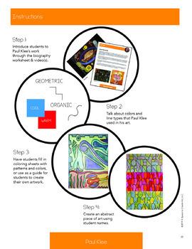 Paul Klee Art History Workbook and Art Activities - Communication through art