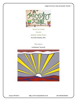 Art Lesson Teach to Roy Lichtenstein K-5th Grade Sunrise Art History and Lesson